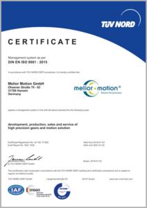 Certificato ISO9000 MeliorMotion